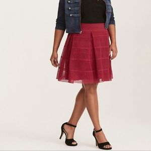 Torrid Sheer Striped Stretch Fit Flare Lace Skirt
